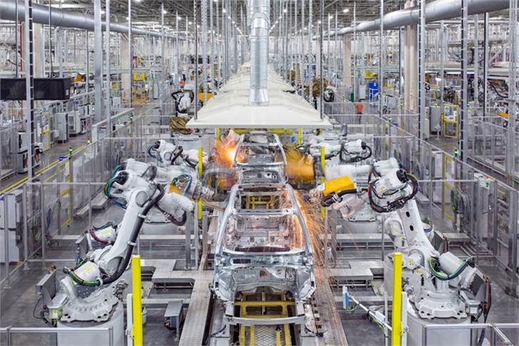 Car manufacturing underway at the Luqiao plant in China.