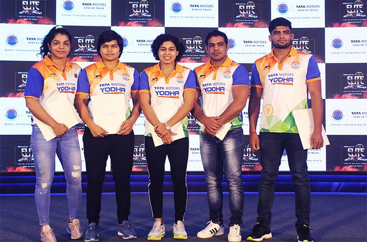 Indian wrestlers Sakshi Malik, Divya Kakran, Pooja Dhanda, Sushil Kumar and Sajan Bhanwal at the announcement of Tata Motors Elite Wrestlers Development Program