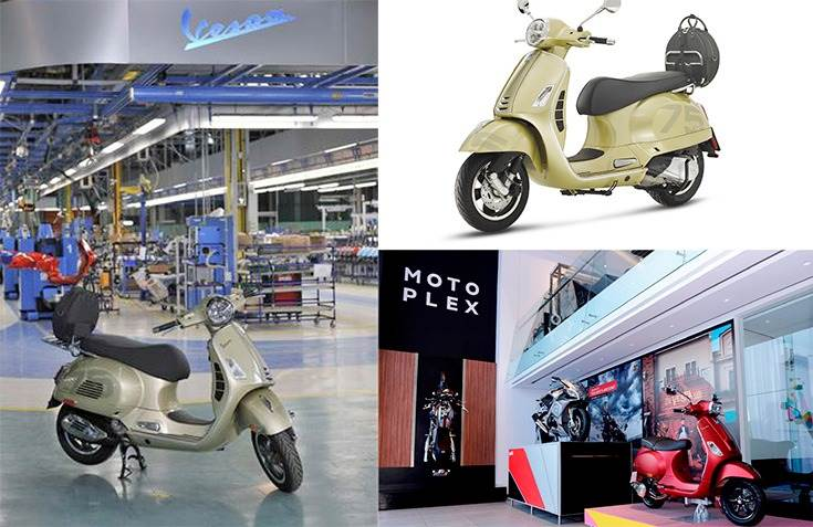 The landmark Vespa, a GTS 300 in 75th Anniversary Special Edition, was assembled in the Pontedera plant, where Vespas have been manufactured uninterrupted since 1946.