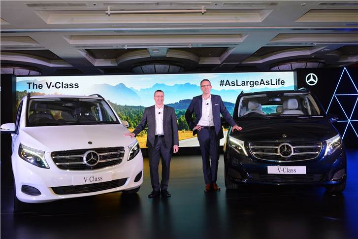 L-R: Martin Schwenk, MD and CEO, Mercedes-Benz India and Michael Jopp, vice-president, Sales & Marketing, Mercedes-Benz India at the launch of the V-Class.
