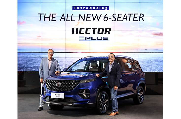 Rajeev Chaba, president and managing director (left) and Gaurav Gupta, chief commercial officer, MG Motor India at launch of the all new 6-seater Hector.
