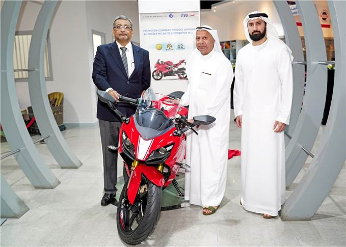 L-R: R Dilip, executive VP, International Business, TVS Motor Company and Ahmad Al Yousuf, CEO, Al Yousuf LLC and Yousuf Al Yousuf.