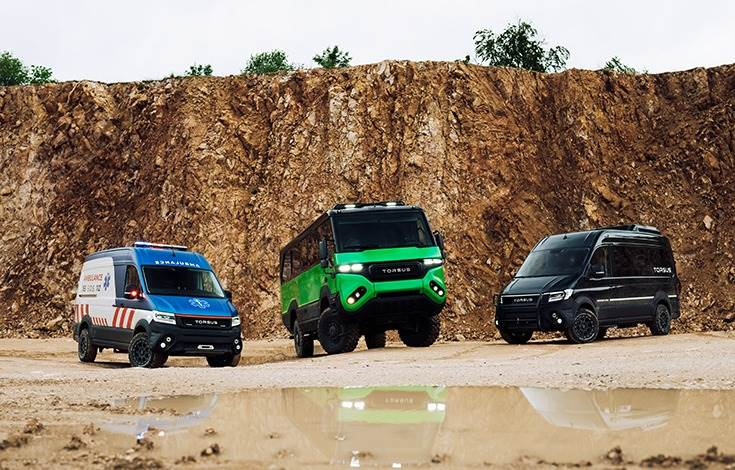 Torsus has a range of 4x4 off-road large passenger vehicles with 290mm ground clearance, targeted at segments like oil and gas mining, law enforcement, tourism, extreme sports and emergency vehicles
