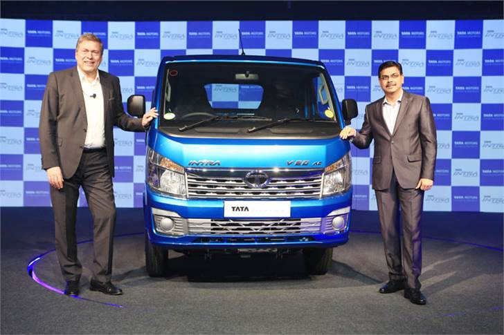 L-R: Guenter Butschek, CEO and MD, Tata Motors and Girish Wagh, President, CVBU, Tata Motors at the national launch of the Tata Intra in Chennai.
