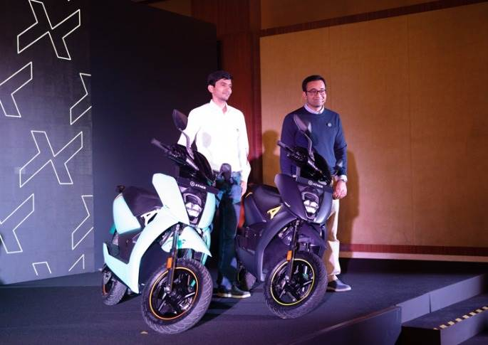 Tarun Mehta and Swapnil Jain, co founders of Ather Energy, with the new Ather 450X.
