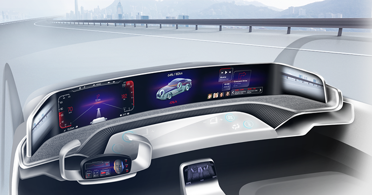 integrated cockpit experience, demonstrating the interplay between Visteon's SmartCore domain controller and its Drive Core autonomous driving controller. These controllers interact to manage the experience of drivers and passengers as the vehicle assumes control from the driver or gives it back, depending on the situation.