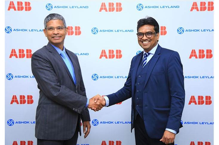 Dr N Saravanan, President & CTO, Ashok Leyland and N Venu, MD, ABB Power Products and Systems India at the MoU signing for developing a pilot electric bus