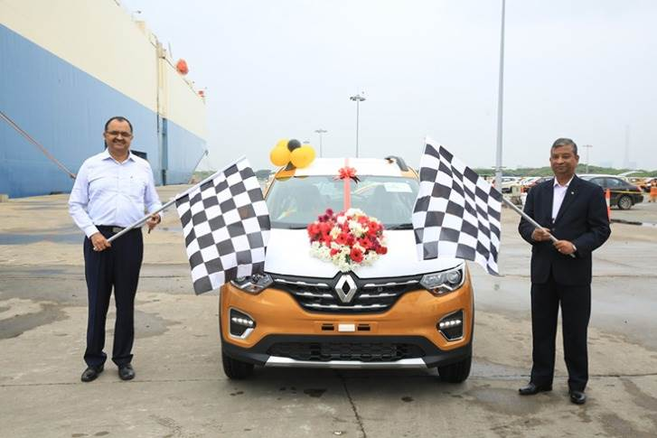 (L-R) - Shri Sunil Paliwal, Chairman and CMD, Kamarajar Port and Venkatram Mamillapalle, Country CEO & MD, Renault India flagging off first tranche of exports