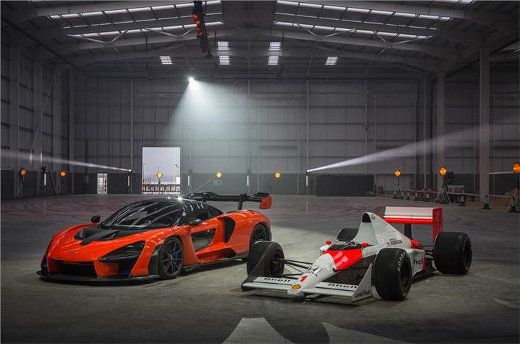 New McLaren Senna and MP4/5 F1 car in McLaren Composites Technology Centre