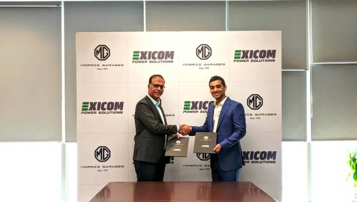 L-R: Rajeev Chaba, MD MG Motor India and Anant Nahata, MD, Exicom Tele-Systems announcing the partnership for MG ZS EV second-life use of EVs.