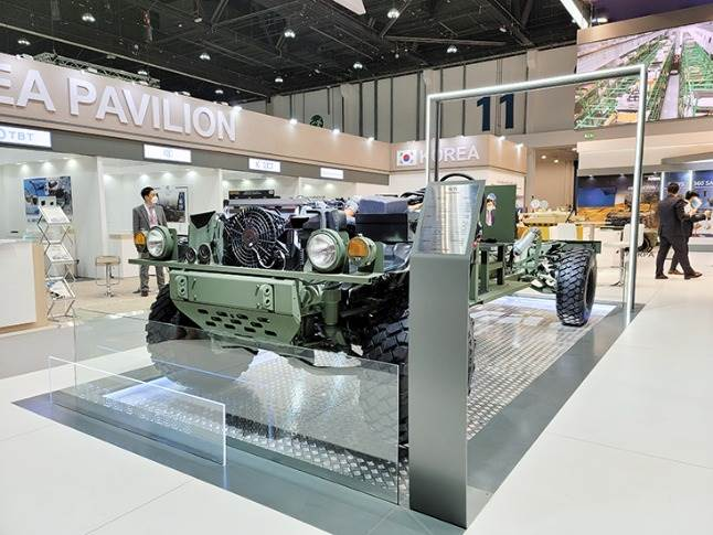 Bare chassis showcases the truck's powertrain and basic frame, providing a glimpse of the platform's scalability as a basis for a range of armoured vehicles