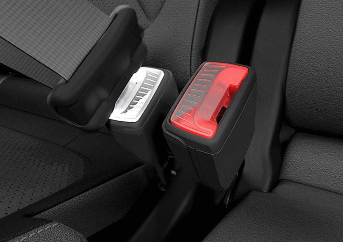 Patented illuminated seatbelt buckles make it easier to fasten the seatbelt in the dark.