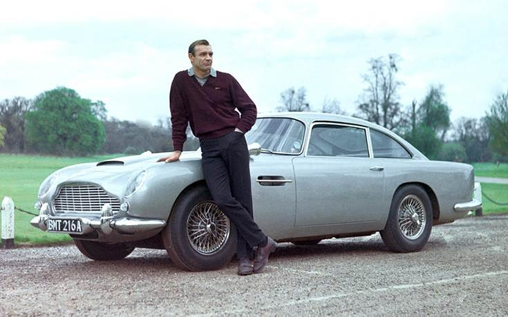 Sean Connery with the 1965 Aston Martin DB5