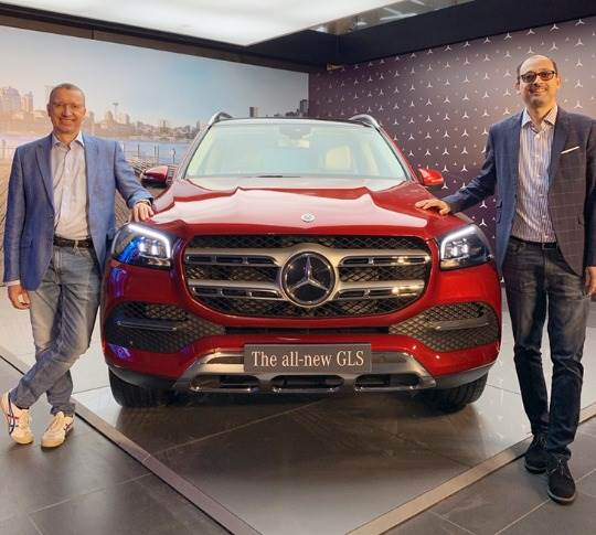 Martin Schwenk, MD and CEO, Mercedes-Benz India and Santosh Iyer, Vice-President (Sales and Marketing), Mercedes-Benz India with the new GLS.