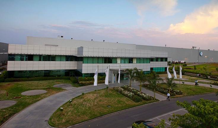 The Volkswagen plant in Chakan covers 2.3 million square metres (572 acres) and has a production capacity of up to 200,000 vehicles a year.