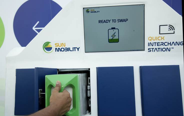 Sun Mobility's Quick Interchange Stations enable customers to adopt e-mobility using an innovative pay-per-use model that reduces both their initial cost of purchase and also overall operating costs.