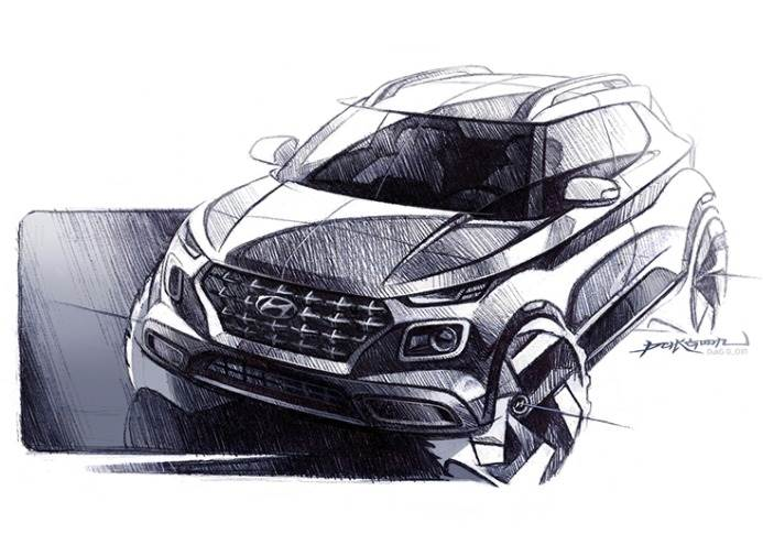 "The mass-market EV for India will be a ground-up SUV with a range ""between 200-300km."" Image: Representational sketch of Hyundai Venue."