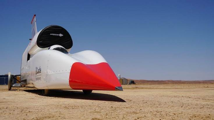 The Bloodhound Land Speed Record car, now seen for the first time in completed desert spec as it begins its high-speed testing programme in the Hakskeenpan desert, Northern Cape, South Africa.
