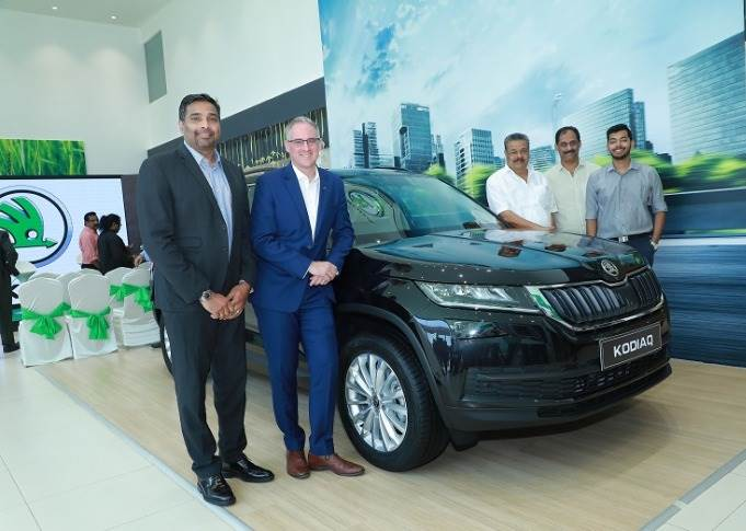 L-R: Sabu Johny, Dealer Principal, EVM Motors and Vehicles with Zac Hollis, brand director, Skoda Auto India at the newly inaugurated dealership facility in Ernakulam, Kerala.