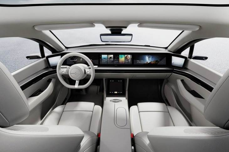 Inside, the Vision-S features a number of Time-of-Flight (ToF) in-car sensors that can detect and recognise people within, to optimise infotainment and comfort systems.