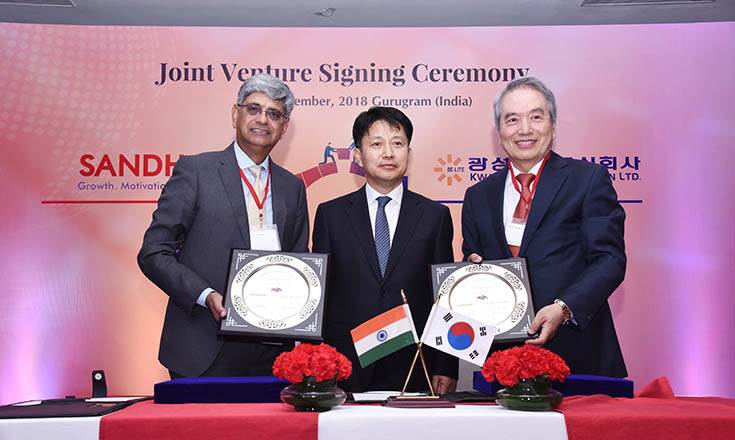 L-R: Jayant Davar, co-chairman & MD, Sandhar Technologies; Hai Kwang Lee, Minister, Embassy of Republic of Korea in India; Philho Sung, founder and chairman of Kwangsung Corporation.