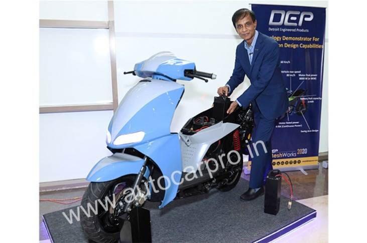 Detroit Engineered Products prototype electric scooter which has a 150km range and a maximum speed of 80kph. Also seen is Radha Krishnan, DEP founder and president.