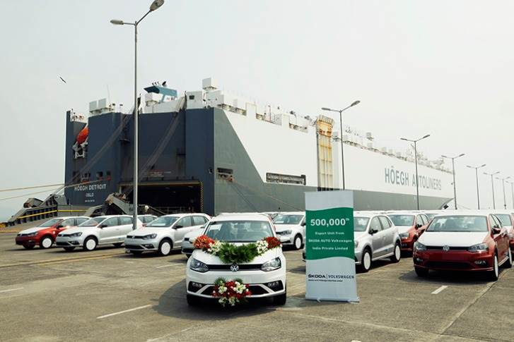 The milestone vehicle is a white-coloured, left-hand-drive Volkswagen Vento sedan and part of a shipment of 982 cars being shipped to Mexico from the port of Mumbai.