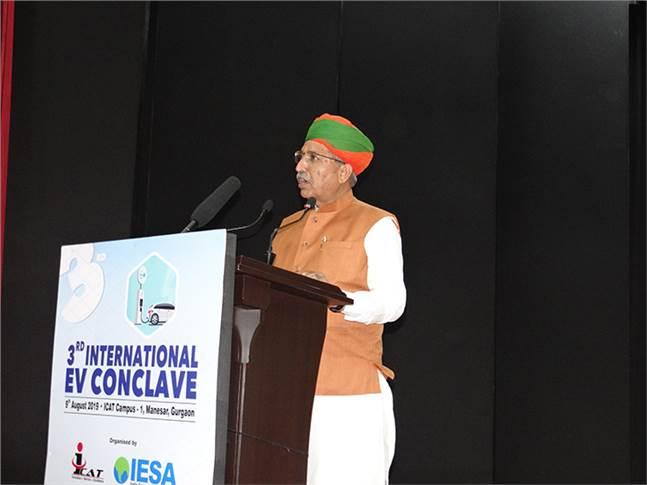 Arjun Ram Meghwal, Minister of State for Parliamentary Affairs & Ministry of Heavy Industries, at the third EV Conclave held at ICAT on August 9.