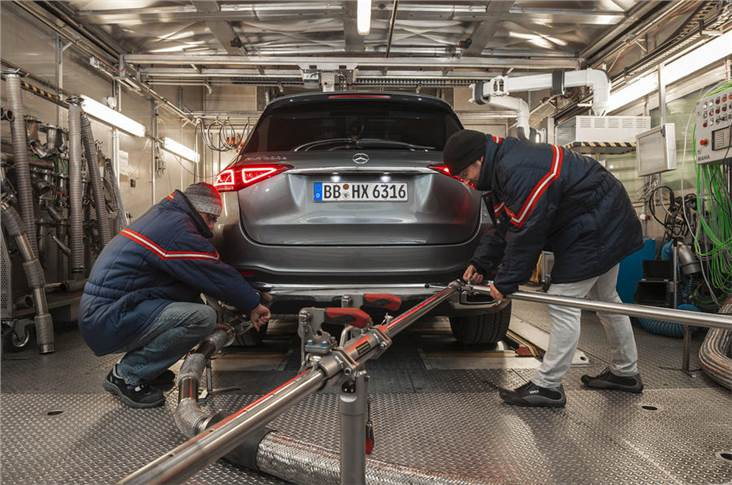 Mercedes' dedicated emissions test facility