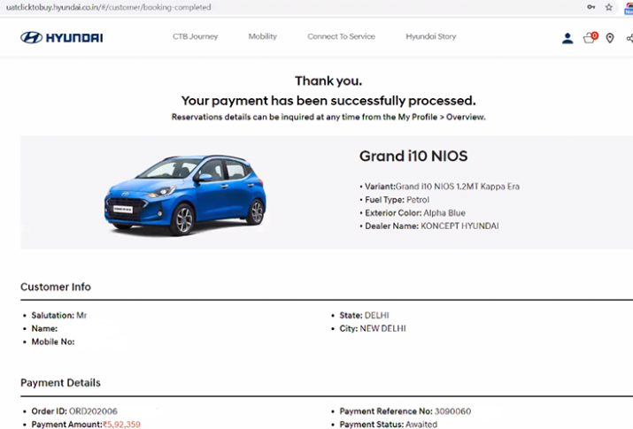 On successful online payment, customers receive an Order ID along with VIN allocation from the dealer inventory.