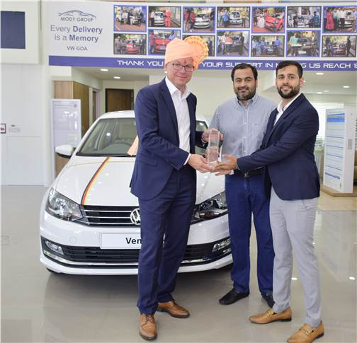 L-R: Steffen Knapp, MD, Volkswagen Passenger Cars India; Nihar Modi, MD, Mody Group and Parth Modi, director, Mody Group at the newly inaugurated dealership in Goa.