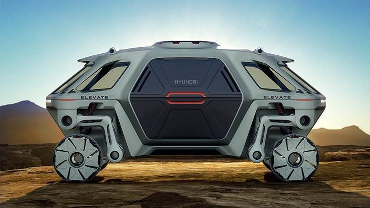 """The Elevate sits atop a modular EV platform, which allows for the easy installation of different body shells.Each wheel is independently powered, and this, alongside a 15-foot track width, allows the vehicle to move with a """"mammalian and reptilian"""" walking gait."""