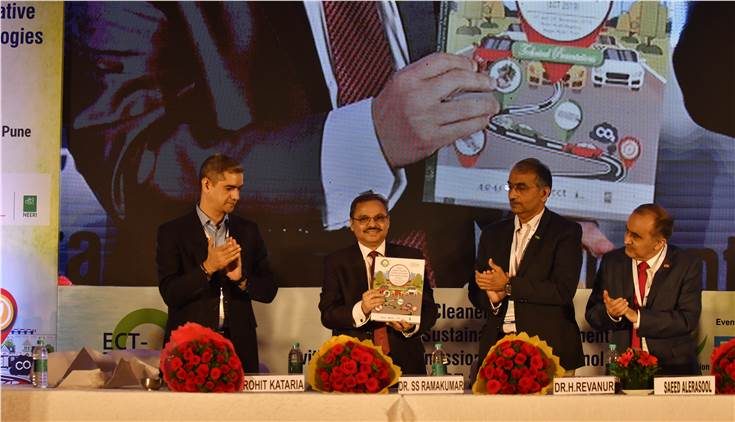 L-R: Rohit Kataria, president, ECMA; Dr SSV Ramakumar, director (R&D), Indian Oil; Dr H Revanur, vice-president, ECMA and Saeed Alerasool, vice-president, BASF Corp, release the technical presentations for ECT 2019.