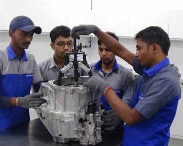 In FY2019, over 23,000 dealer staffers received training and 625 students were absorbed into the Hyundai ecosystem. The OEM has set up 24 skilling centres — 8 regional training centres and 16 training academies — to train employees and impart different skill sets. It has also tied up with 54 ITIs and polytechnics for enhancing worker skills.