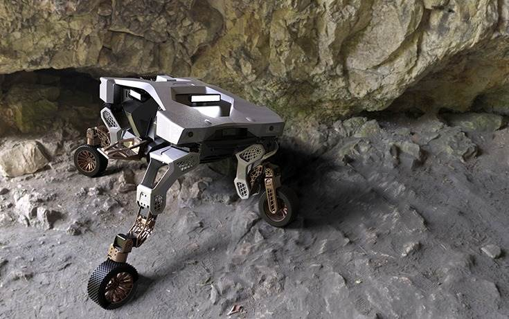 TIGER concept inside a cave. Based on a modular platform architecture, its features include a sophisticated leg and wheel locomotion system, 360-degree directional control, and a range of sensors for remote observation