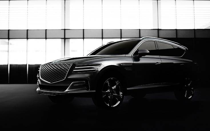 The three-row GV80 will become the fourth model in the Genesis line-up, joining the G70, G80 and G90 sedans. Like its sedan siblings, GV80 will be based on a rear-wheel-drive platform unique to the Genesis brand; all-wheel drive will be optional.