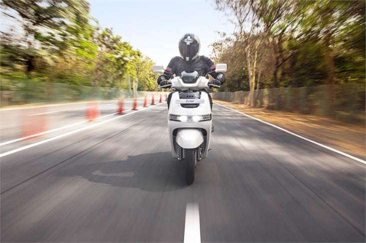 TVS claims the iQube can cover 75km on a full charge and a 0-40kph time of 4.2 seconds.