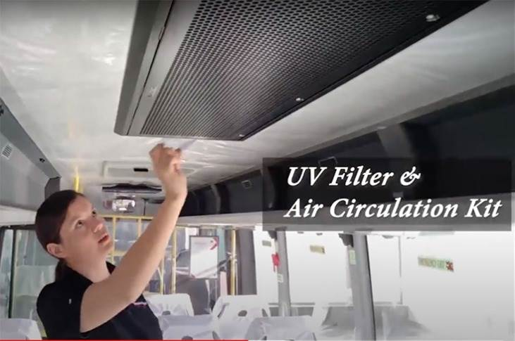 The bus comes with a UV-filter and air circulation kit. DICV says the UV lamp kills up to 99.6% of airborne viruses while the air circulation system secures ventilation of fresh air from outside.