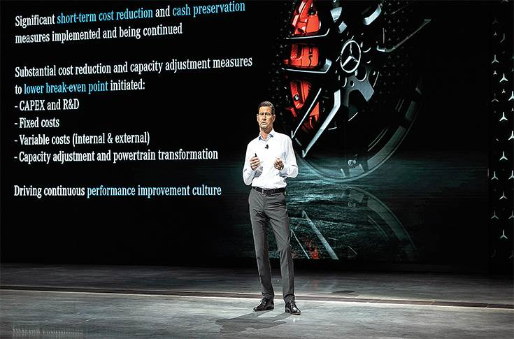"Harald Wilhelm, CFO of Mercedes-Benz AG: ""All measures together are designed to make our business weatherproof, address the challenges of the transformation and lead to solid profitability levels even in rough weather, with significant upside in favourable market conditions."""