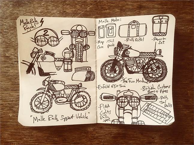 Sketches of the Malle Rally Royale duo.