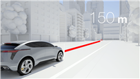Industry-first digital radar enhances a vehicle's ability to 'see' its surroundings and detect potential dangers, from a stalled car in a dark tunnel to a pedestrian up to 150 metres away.