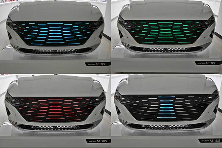 'Lighting grille' uses entire front grille as a lighting device and can depict various scenarios such as autonomous driving mode, EV charging mode, welcome light function, sound beat display, and emergency warning light display.