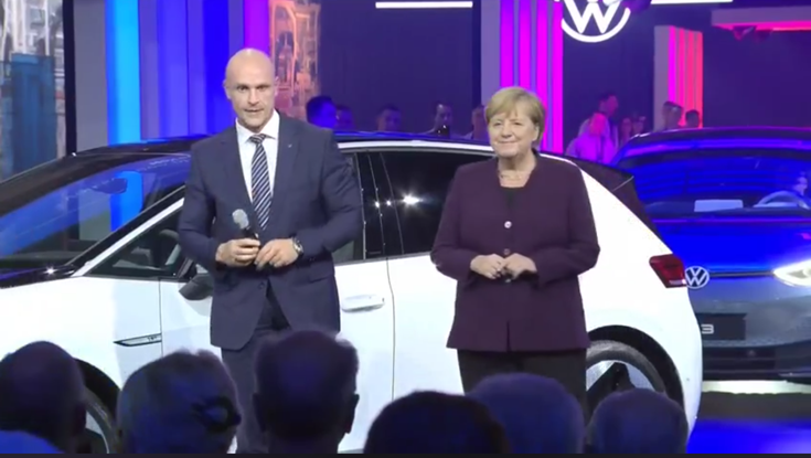 Dr Herbert Diess, chairman of the board of management, Volkswagen Group, with Chancellor Dr. Angela Merkel at the rollout of the first ID.3 from the Zwickau plant.