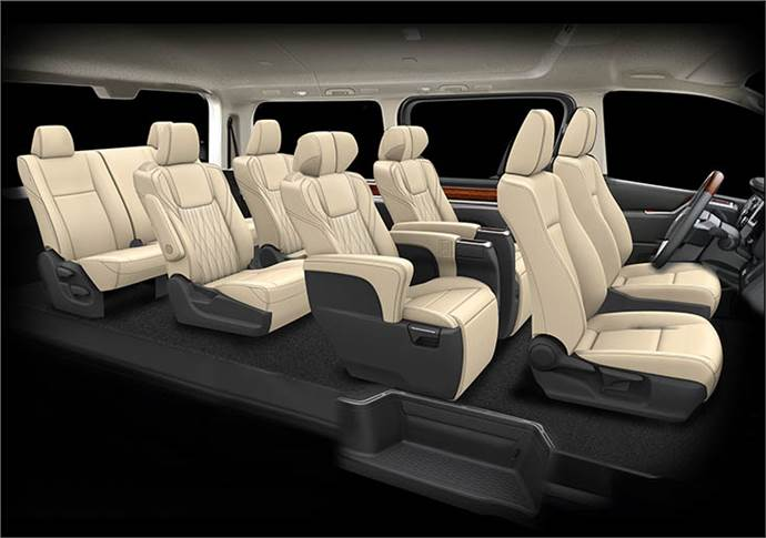 The Granace has two types of seating arrangements are available: the six-seater with seats in three rows of two, and the eight-seater with seats in four rows of two.
