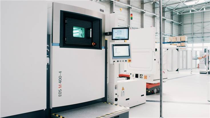 Pilot plant with EOS M 400-4 four-laser system for industrial 3D printing with metal materials.