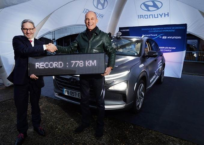 French aeronaut and president of the Solar Impulse Foundation Bertrand Piccard has broken the world record for the longest distance traveled in a hydrogen-powered vehicle on a single refuellng.