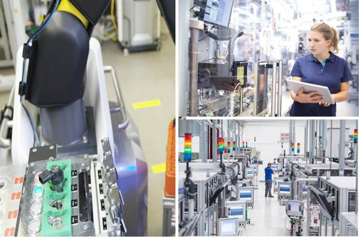 The Bosch portfolio ranges from software packages for manufacturing and logistics, to robots that make and deliver parts, to workplace assistance systems.
