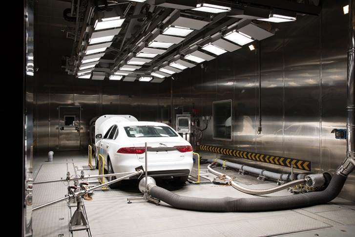 After a road load equation assessment at the track, an emissions test is conducted inside the powertrain lab to ascertain a better measure of the overall levels.