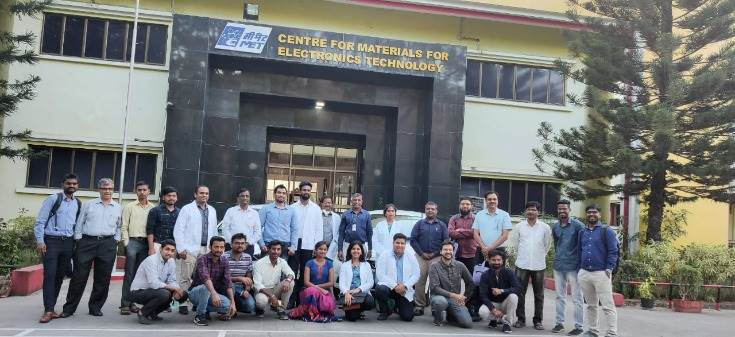 The workshop participants at the Centre for Materials for Electronics Technology, Pune