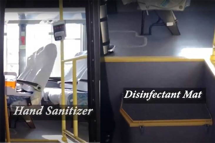 On entering the bus, passengers step on to a disinfectant mat and can use a hand sanitiser.